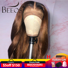 Beeos Ombre Colored T Deep Part Lace Front Wigs Brazilian Remy Body Wave Wigs 150% 1b30 Hair Wig Bleached Knots