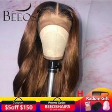 Perruques Deep Part Lace Front Wig brésiliennes Body Wave Beeos, cheveux Remy, ombré 1b30, 150%, nœuds décolorés