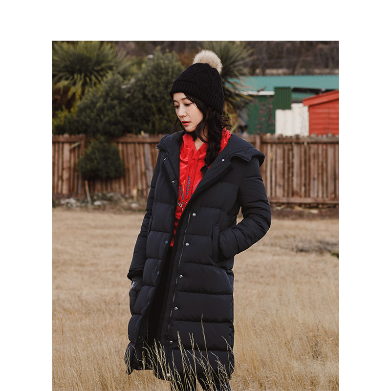 INMAN Ladies Winter Fashion Hooded Long Thick Warm Down Jacket Female Leather Loose Coat