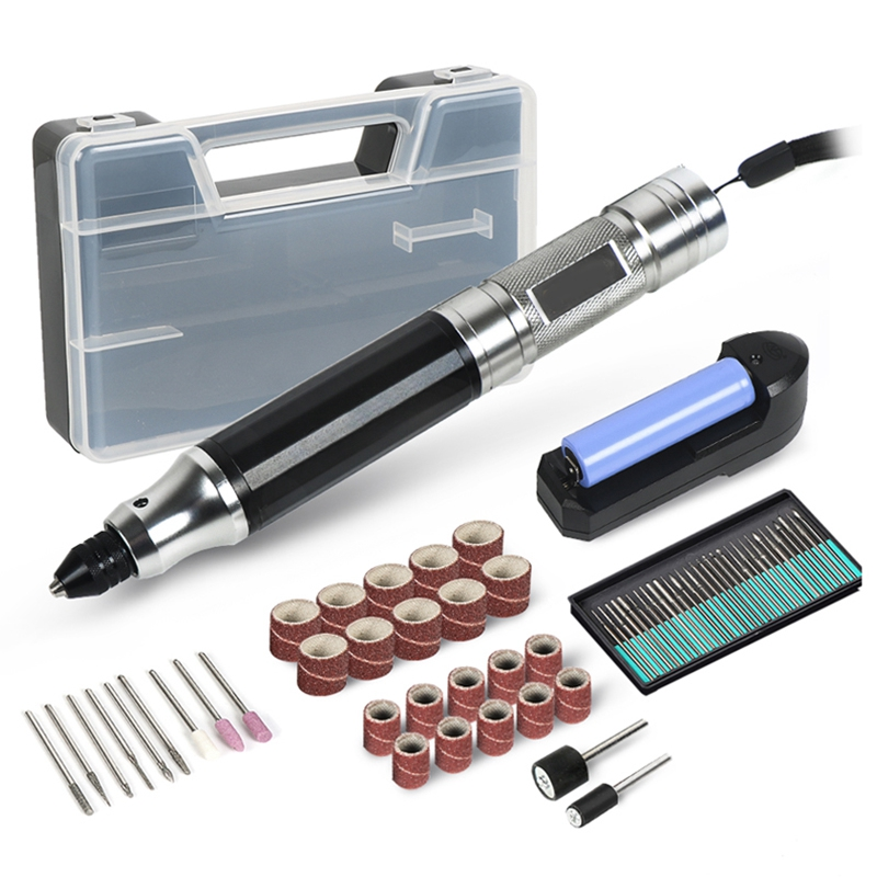 Mini Cordless Drill Engraving Pen Electric Drill Grinder With Lithium Battery 3.7V Rechargeable Jade Carving Tool Us Plug