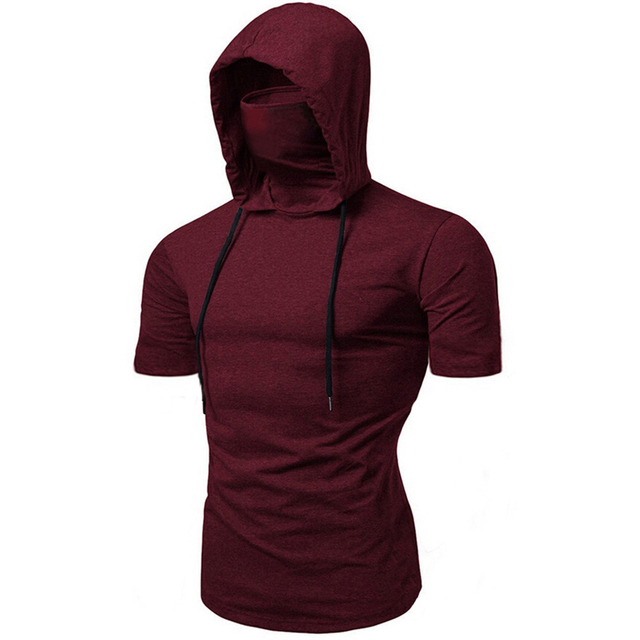 Fashion Short-Sleeved Mask Hooded Tops Men Casual Elastic Solid Fitness Hip Hop Slim Fit Male top tees Streetwear M-3XL 5