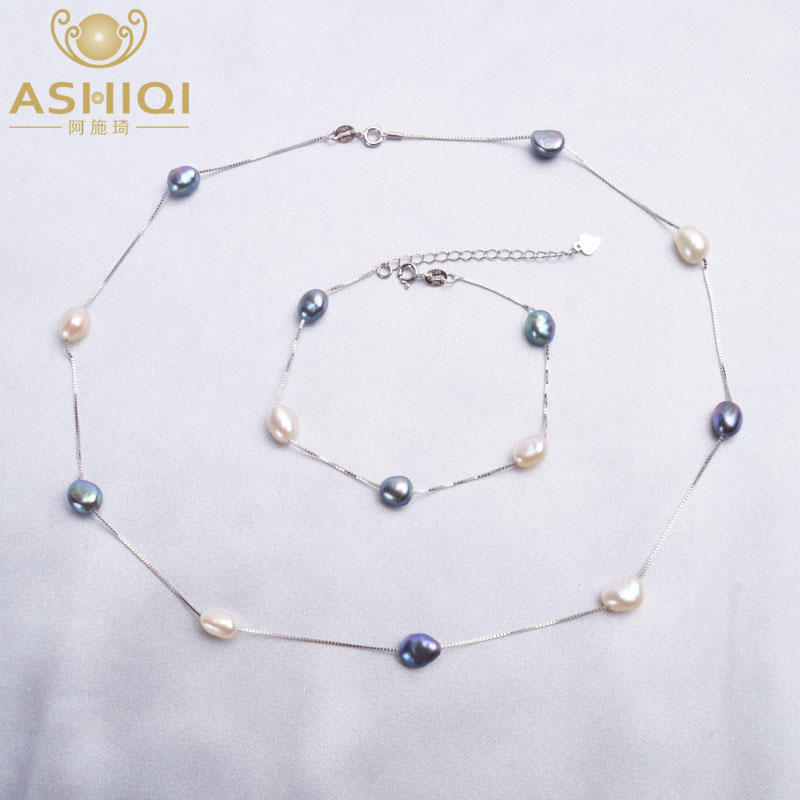 ASHIQI  Natural Baroque Pearl Necklace Bracelet With 925 Sterling Silver Chain 6-7mm Freshwater Pearl Jewelry Sets For Women
