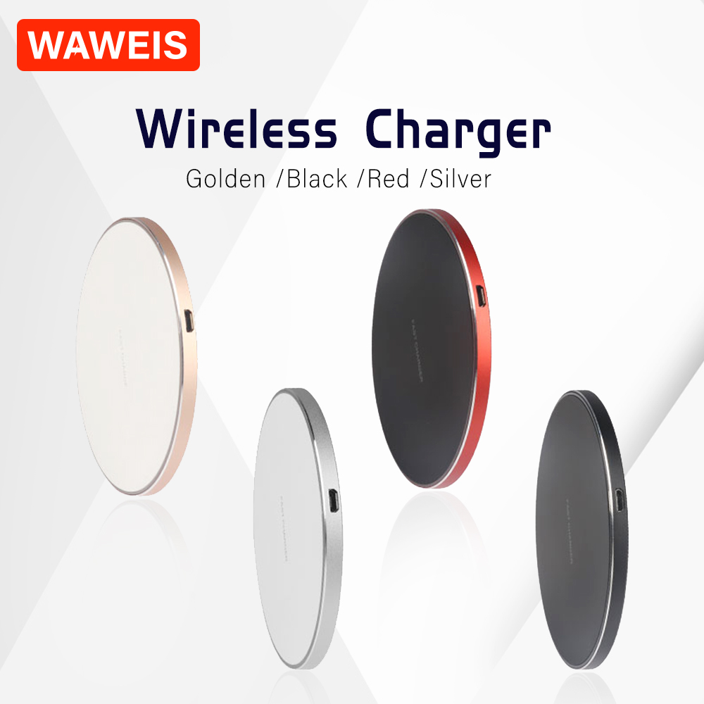 WAWEIS Fast Qi Wireless Charger LED Breathing Light 10W Micro Type-c Chargers for iPhone/Xiaomi/Samsung and Other Mobile Phone