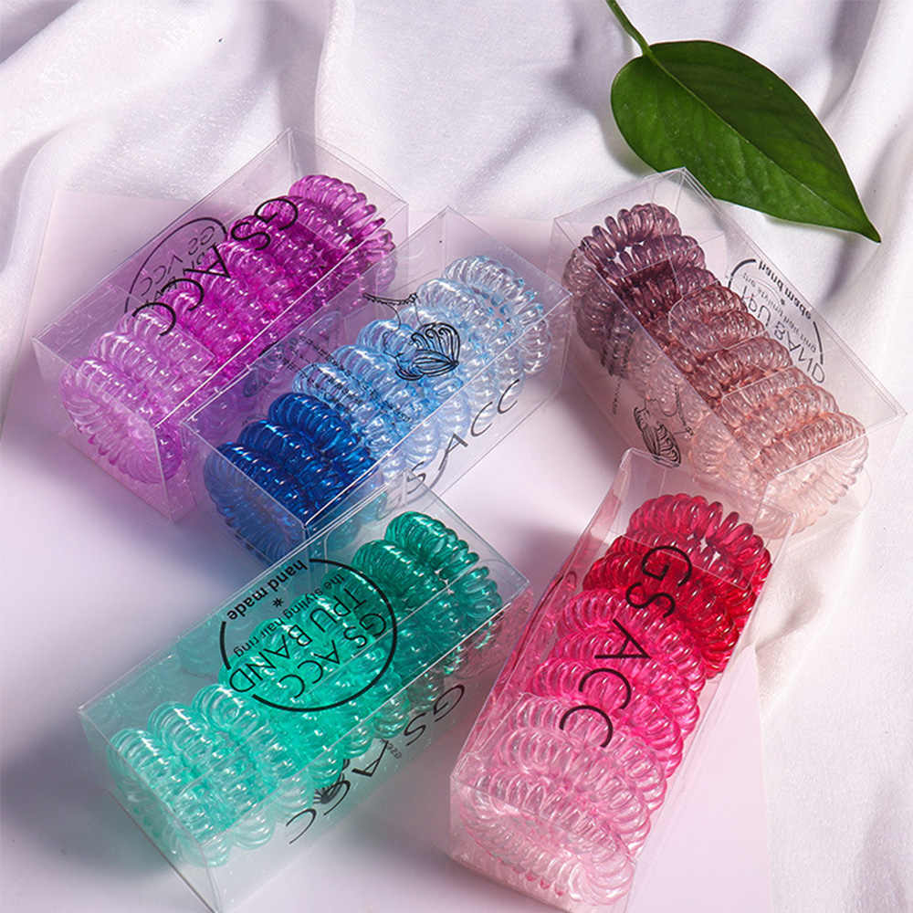 New arrival 2-9 pcs/set Transparent jelly Color telephone ring hair bands with box girl's hair tie hair accessories gum