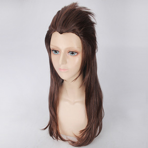Image 4 - Game Sally face Sallyface Larry Cosplay Wig 65cm Long Brown Styled Heat Resistant Synthetic Hair Wig + Wig Cap