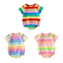 Summer Newborn Babys Clothes Baby Girls Boys Rompers Rainbow Stripe Baby Jumpsuit Outfits Playsuits baby girl rompers 0 2y summer autumn newborn baby clothes for girls long sleeve kids boys jumpsuit baby girls outfits clothes