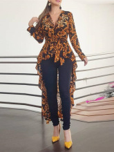 2019 Autumn Women Elegant V-Neck Boho Vintage Long Top Female Stylish Casual Shirt Baroque Print Long Sleeve Dip Hem Blouse cut out bow back dip hem top