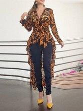 2019 otoño mujer elegante cuello en V Boho Vintage largo Top mujer elegante camisa Casual estampado barroco de manga larga Dip Hem blusa