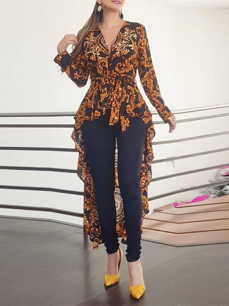 2020 Autumn Women Elegant V-Neck Boho Vintage Long Top Female Stylish Casual Shirt Baroque Print Long Sleeve Dip Hem Blouse