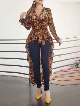 цена на 2020 Autumn Women Elegant V-Neck Boho Vintage Long Top Female Stylish Casual Shirt Baroque Print Long Sleeve Dip Hem Blouse