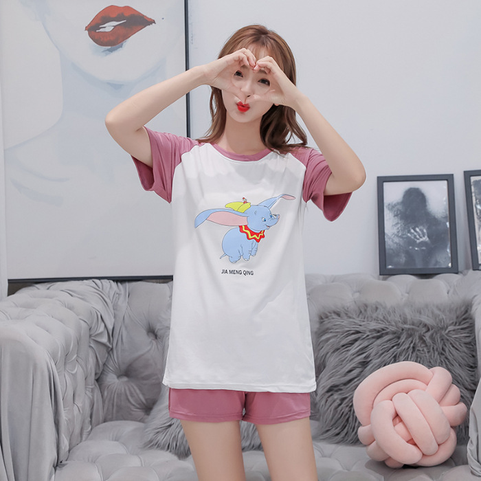 Summer Thin Section Pajamas Hot Selling Short Sleeve Qmilch Thin Cartoon Cute Dumbo Homewear Set