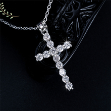 Cubic Zirconia Cross Pendant & Necklaces 925 Sterling Silver Necklace For Women Fashion Jewelry Accessories Bijoux Gifts new 925 sterling silver zircon square circle necklaces pendant fashion sterling silver jewelry statement for women bijoux