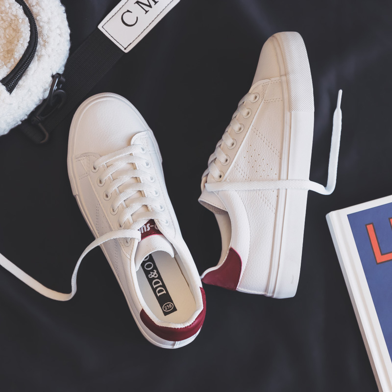 Women's Shoes New Fashion Casual Platform Soild Leather Classic Cotton Women Vulcanize Shoes Casual Lace-up White Shoes Sneakers