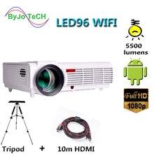 Poner Saund LED96 WIFI 프로젝터 3D 5500 Lums 풀 HD 안드로이드 6.0 무선 멀티 스크린 대화 형 10m HDMI 삼각대 3D Proyector