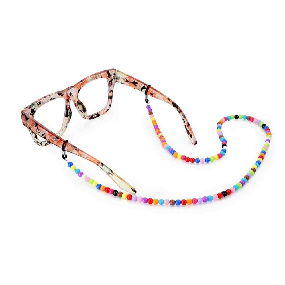 خمر عشوائي الملونة متعة الاكريليك الفاصوليا سلسلة النظارة مع العالمي السيليكون المضادة للانزلاق حزام حامل حبل نظارات الحبل