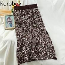 Bandage Skirts Faldas Korean-Print Vintage Elegant High-Waist Korobov Sexy Autumn Winter