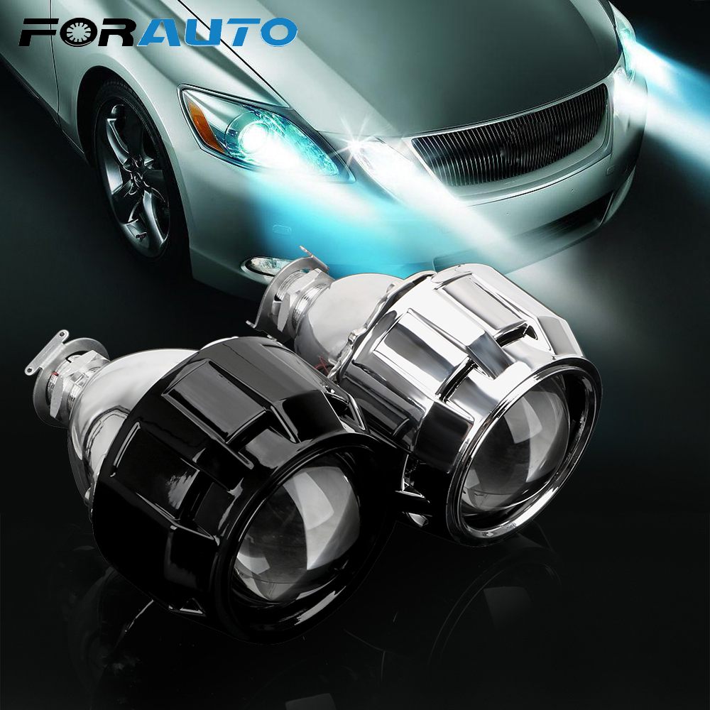 FORAUTO Motorcycle Car <font><b>Headlight</b></font> Accessories 2.5 Inch For H1 Xenon <font><b>LED</b></font> Bulb H4 <font><b>H7</b></font> Xenon HID Projector <font><b>Lens</b></font> Silver Black Shell image