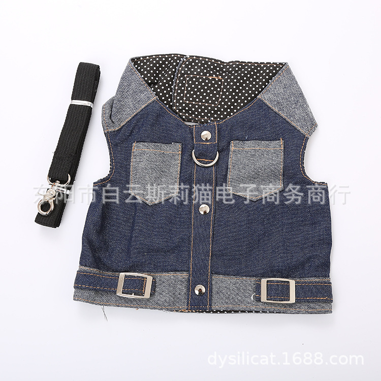 Pet Dog Vest Style Cowboy Hand Holding Rope Dog Chest And Back Set Pet Seat Belt Hand Holding Rope