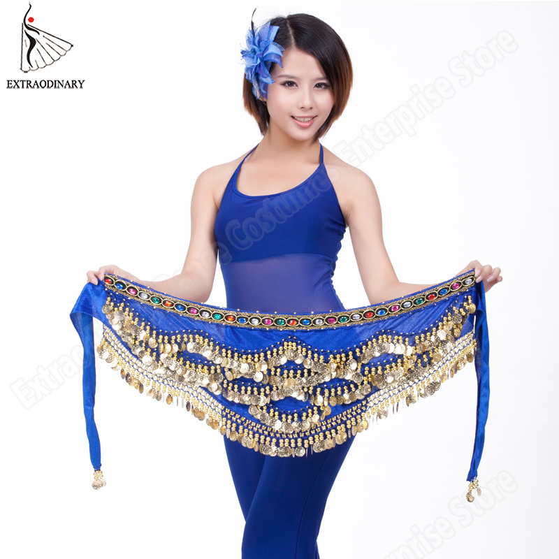 Women Belly Dance Belt Bead Coin Hip Scarf Wrap Gypsy Costume Bellydance Clothes Tribal Belt Accessories 9 Color