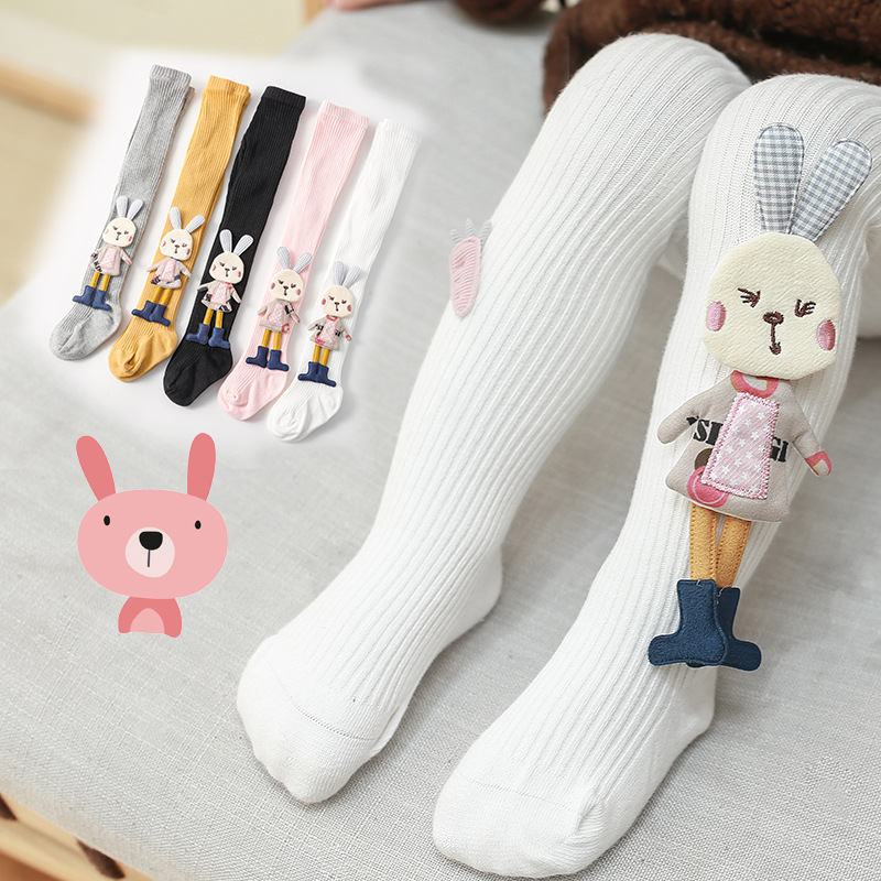 Spring Autumn Kids Knitted Children Pantyhose Cotton Double Needle Tights for Girls Cute
