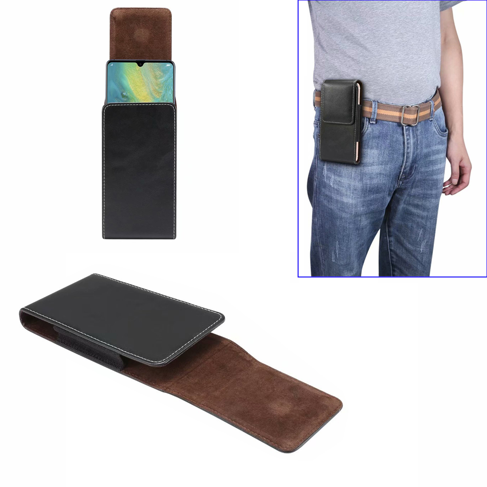 Universal PU Leather For Samsung Note 10 <font><b>Pro</b></font> S10+ <font><b>Smartphone</b></font> Leather Case Belt Clip Holster Waist Bag For <font><b>Huawei</b></font> P30 <font><b>P20</b></font> <font><b>Pro</b></font> image