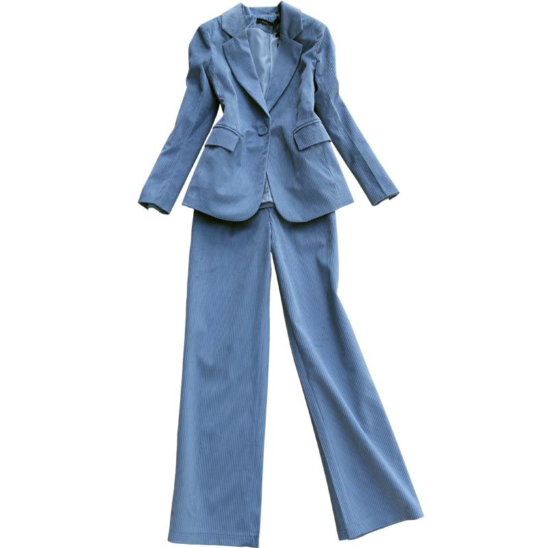2019 New Women's Suits High Quality Pants Set Korean Retro Casual Corduroy Ladies Jacket Casual Wide-leg Trousers Two-piece Suit