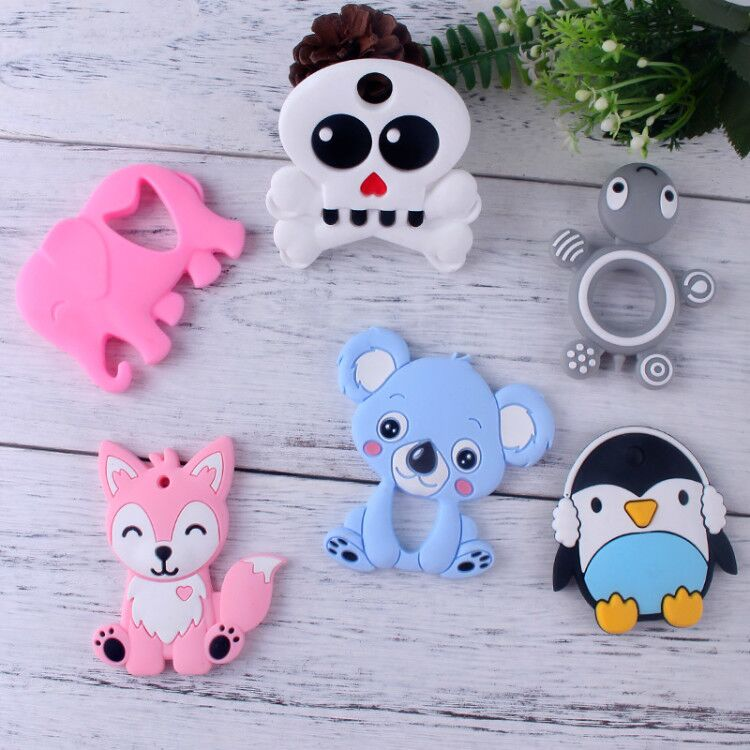 XCQGH 1PCS Baby Silicone Teether Cute Animal  Teethers Koala Elephant Tortoise Infant Toddler Chew Charms Pendant
