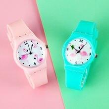 Часы женские с фламинго кварцевые наручные силиконовым ремешком