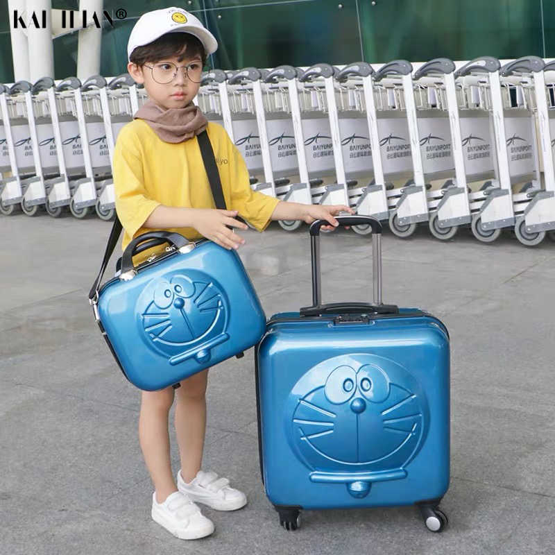 Kid's luggage set Children Doraemon Cartoon Luggage 3D Machine Cat Luggage Rolling Wheels Trolley Suitcase Bag Cute kid Suitcase