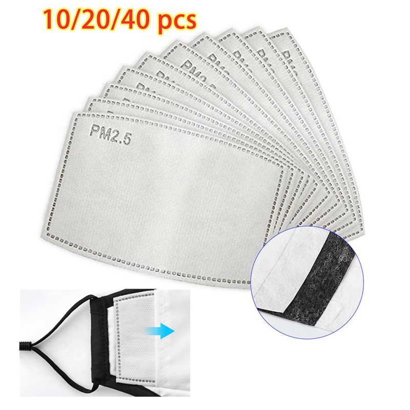 10/20/40PCs PM2.5 Mask Filter Paper Anti Haze Mouth Mask Replacements Cotton Masks Filters Accessoris Facial Protective Cover