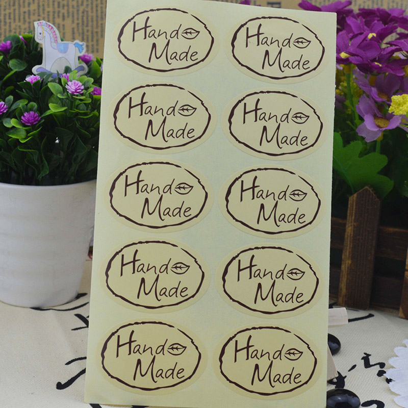 10Sheets=200Pcs Sealing Label Stickers Hand Made Adhesive Stickers Kraft Paper Stickers For Gifts Girls