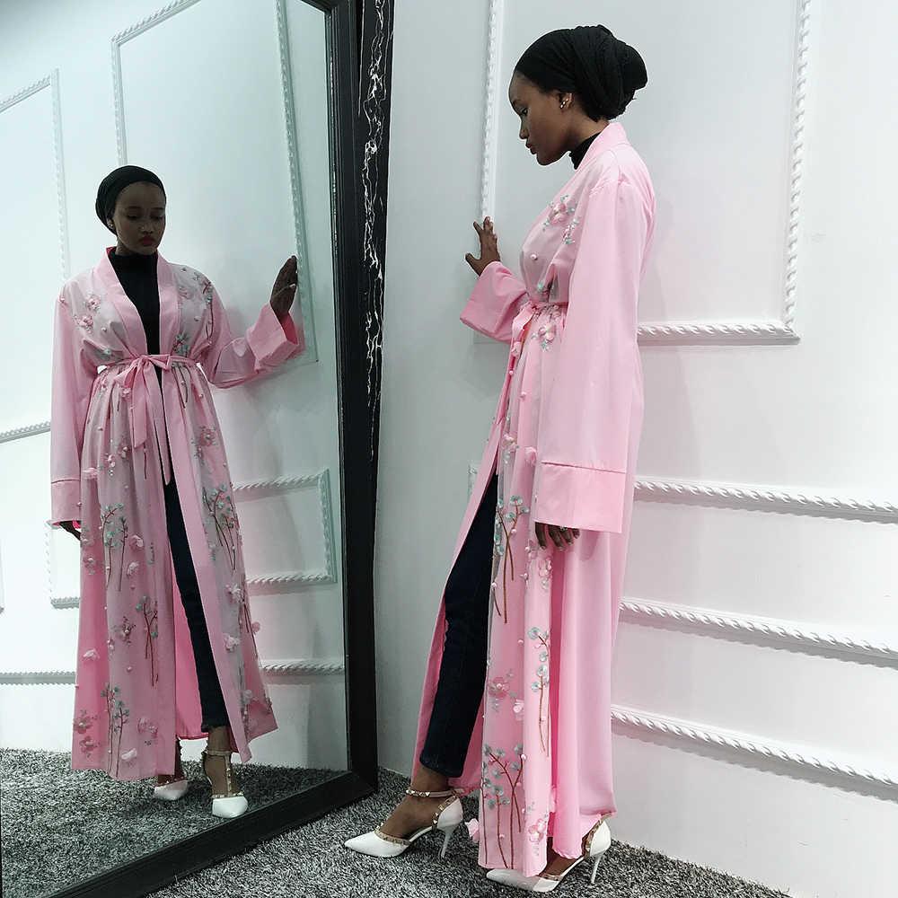 오픈 Abaya 기모노 터키어 Hijab 이슬람 드레스 아프리카 드레스 여성을위한 Abayas Caftan 두바이 Kaftan 이슬람 의류 가운 Musulmane