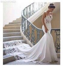 2021 Mermaid Wedding Dress Sleeves Vestidos Lace Sweetheart Neck Bridal Gown Backless Lace Wedding Gowns De Novia Vintage Train