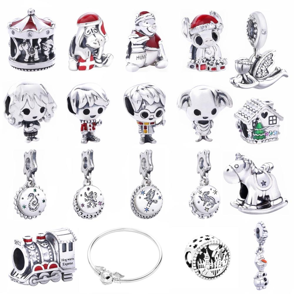 Moonmory 2019 Christmas 925 Sterling Silver Snowman Enamel Charms Fits For Snake Bracelet Harry Magic Charms DIY Jewelry Marking
