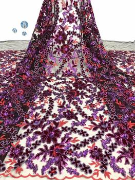 Fast shipping 3D Flower Sequin embroidery lace fabric, high quality French lace clothing / evening dress fabric FFD1013