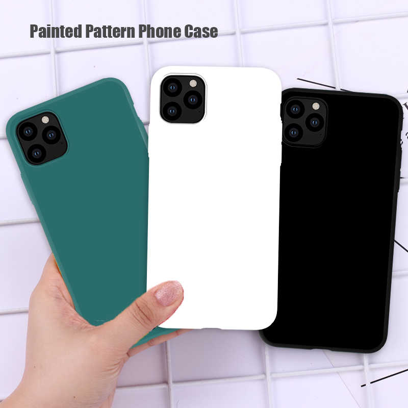 Custodia morbida in Silicone TPU per iPhone 12 Pro Max 7 8 Plus X XS XR 6 6S SE 2020 custodia Color caramella per Cover completa per iPhone 11