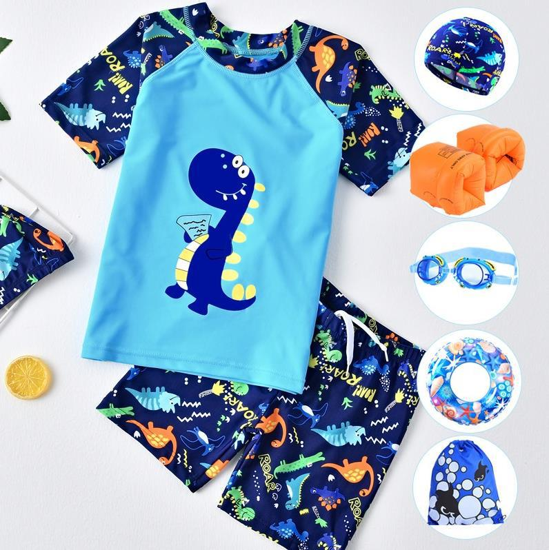 Short Sleeve Summer Clothes Pool Children INS Boy Big Kid Baby Cartoon Dinosaur Bathing Suit With Goggles Sun-resistant