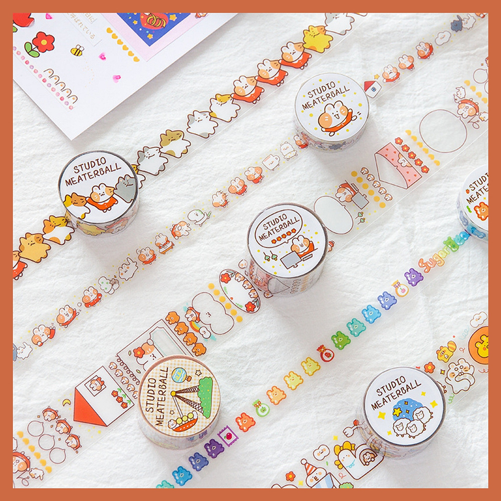 Mohamm PET Cute Masking Tape Simple Character Creative Scrapbooking Stationary School Supplies Girl Decoration