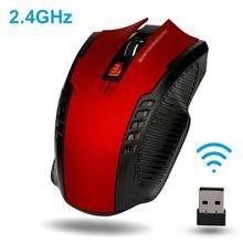 Portable Ergonomic 6 Keys 1600DPI 2.4GHz Wireless Gaming Mouse USB Receiver for PC Laptop