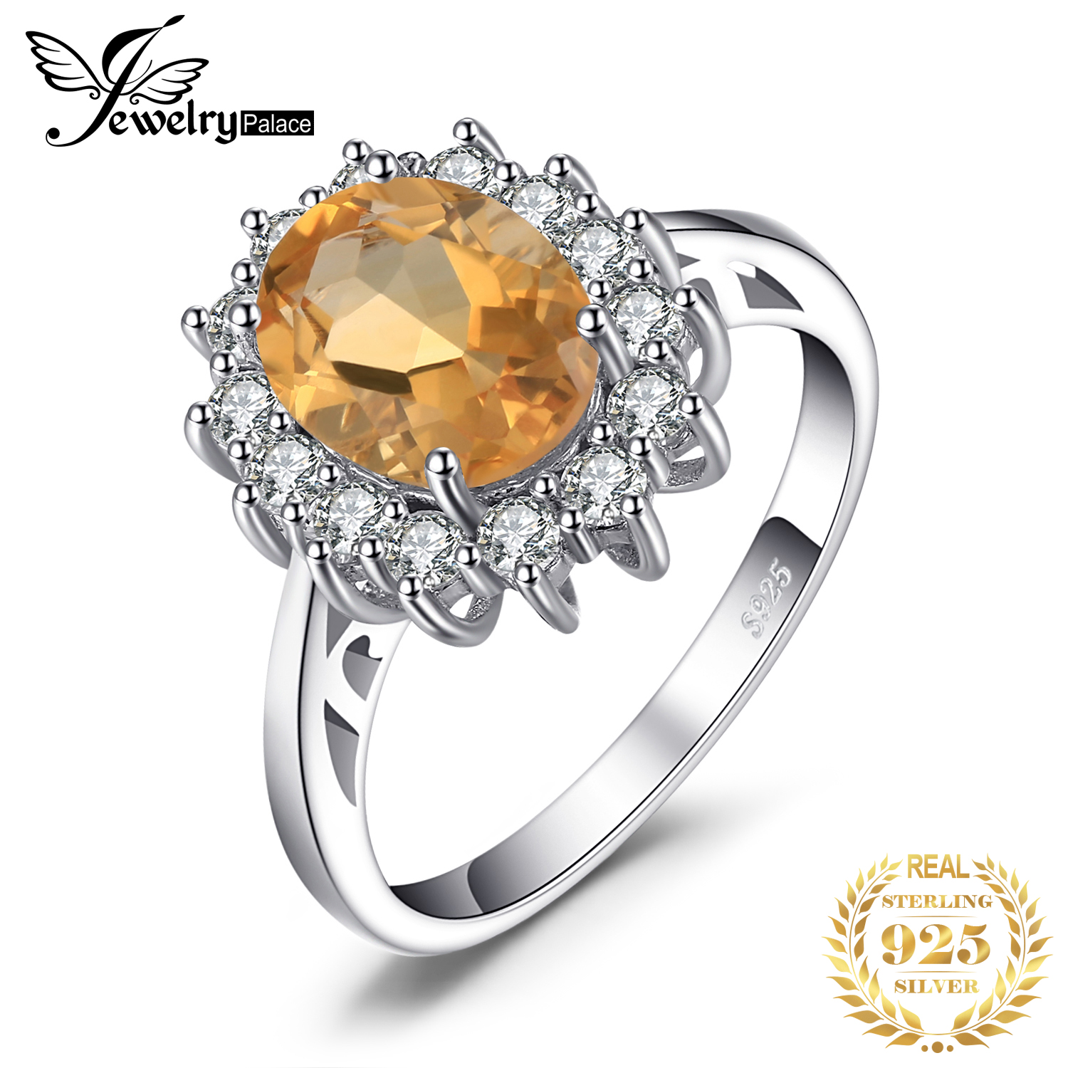 JewPalace Princess Diana Genuine Citrine Ring 925 Sterling Silver Rings for Women Engagement Ring Silver 925 Gemstones Jewelryring 925ring forrings for women -