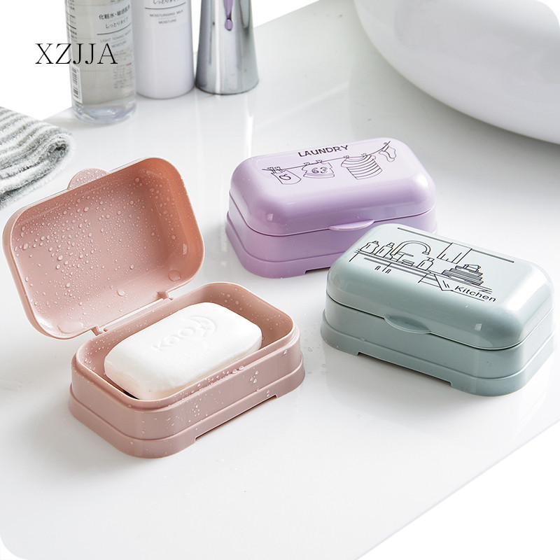 XZJJA European Style Shower Soap Box Bathroom Waterproof Soap Case With Cover Portable Outdoor Travel Soap Protect Container