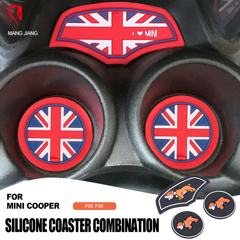 3PCS Interior Silica Gel Water Cup Anti-Slip Mat Pad Coaster Car-Styling For Mini Cooper F55 F56 Sticker Accessories Union Jack