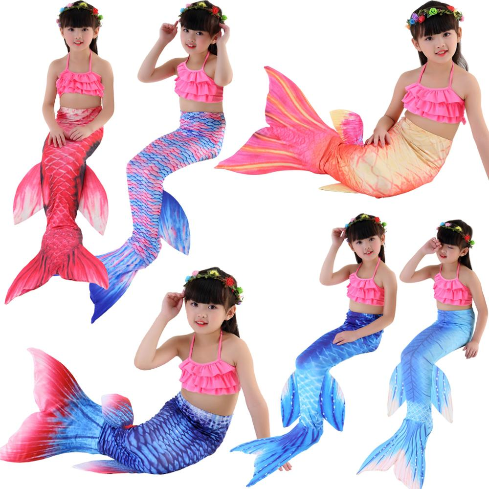 Girls Bathing Suit Swimming Mermaid Tail Little Children Ariel Mermaid Costume Kids Swimsuit Cosplay No Monofin