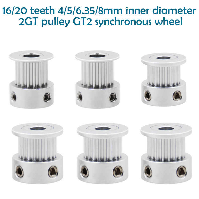 3D yazıcı parçaları GT2 zamanlama kasnağı 16 diş 2GT 20 diş alüminyum çap 5mm 8mm senkron tekerlek dişli parçası genişliği 6mm