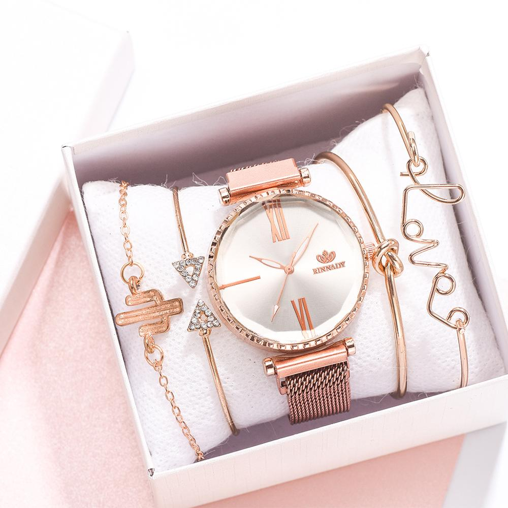 5pcs/set Luxury Women Watches Roman Numerals Magnet Buckle Ladies Wrist Watch Dress Simple Watch And Bracelet Set Womens Reloj