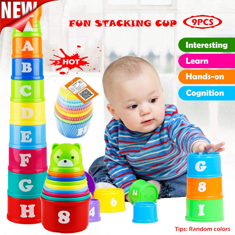 Figure And Letters Children Educational Toys 9PCS Baby Fun Stacking Cups Toy Fun Rainbow Cups Stacking Tower Mini Bear Toy Gifts