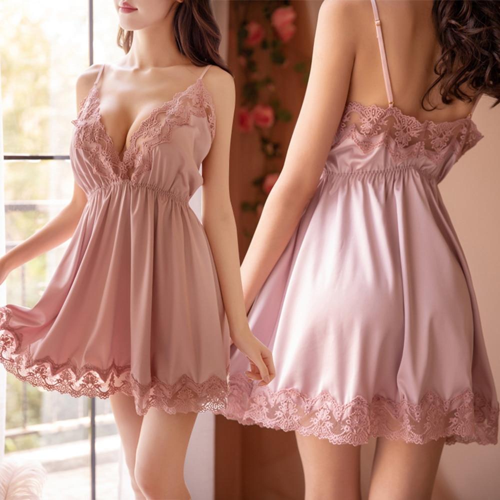 HO-KLOSS Frauen Sexy Nachtwäsche Spitze Nachthemd Nachtwäsche Kleid Babydoll Chemise Backless Sarong Unterwäsche Dessous Faszinierende
