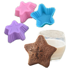 10pcs High-quality Silicone Mold Star Cupcake Cake Mold Muffin Baking Nonstick and Heat Resistant Reusable Cake Molds Muffin DIY new silicone mold heart cupcake 6pcs cake mold muffin baking nonstick and heat resistant reusable silicone cake molds muffin diy