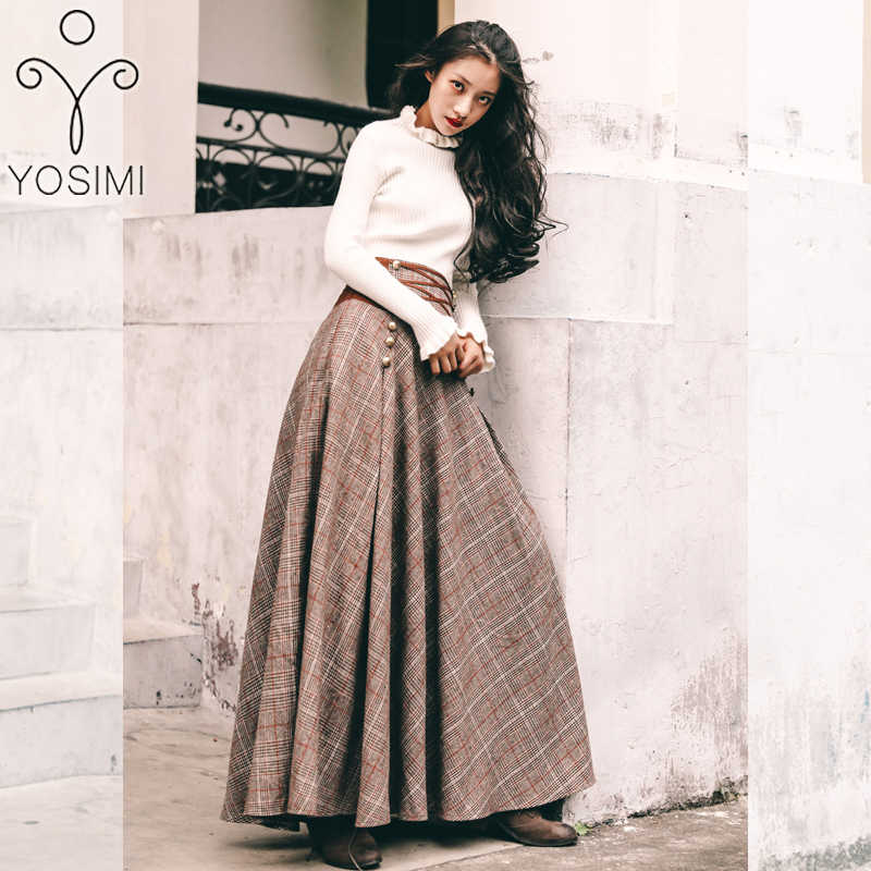 YOSIMI 2019 秋冬長袖ブラウストップとウールの格子縞のスカートとトップセットスーツ女性のツーピースの衣装セータースカート