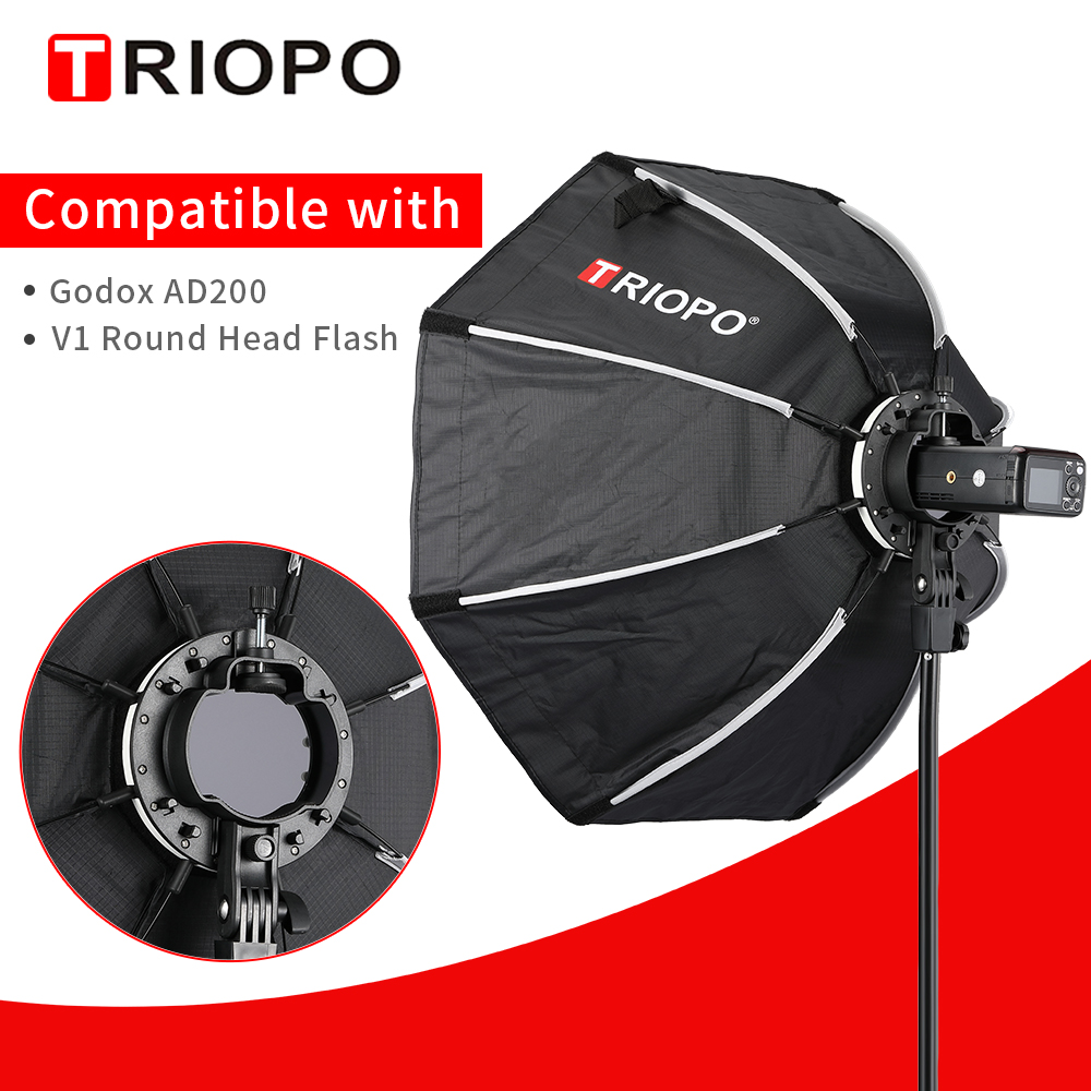 TRIOPO 65cm KX65CM Octagon Umbrella Softbox Soft Box For Godox AD200 V1 Speedlite Flash Light Photography Studio Accessories